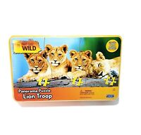 National Geographic Wild Panorama Lion Troop Puzzle by Uncle Milton in Tin New