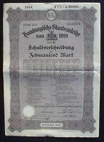 4 1/2%ige Hamburgische Staatsanleihe 10000 Mark 1919 unentwertet + Kupons