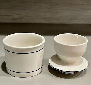 BUTTER CROCK KEEPER White Porcelain 2 Piece Set