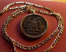 "1889 Republica Mexicana Un Centavo Pendant on a 24"" 14k Gold Filled Link Chain."