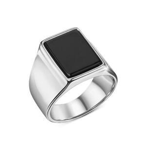 Herren Ring Onyx 18 Karat Weißgold silber vergoldet DJADEE R5607D1