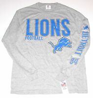 Detroit Lions T-Shirt Long Sleeve Men's size Medium LG or XL, Gray, New w/Tag