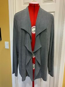 CHICO'S TRAVELERS Gray Acetate Collared Open Style Jacket, Size 2, 12-14