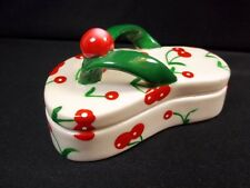 "China hinged trinket box flip flop with cherries 4"" long"