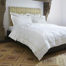 25 FRETTE White w/Triple Gold Piping Euro Pillow Shams - Top Quality, Brand New!