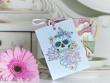 Flor De Loto Azúcar Calavera Día de los muertos hecho a mano de Tatuajes Conjunto de 2 Etiquetas De Regalo