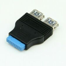 USB 3.0 Motherboard Header 20 Pin to 2 USB A Female Socket Adapter Convertor -EU