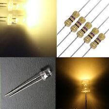 10 diodi led 5 mm bianco caldo TESTA PIATTA angolo grande + RESISTENZE OMAGGIO