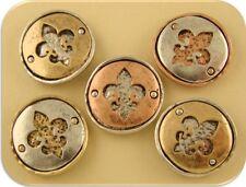 2 Hole Beads Fleur de Lis Shadowbox Circles 3T Silver Copper Gold ~Sliders QTY 5