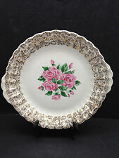 China Bouquet by Sebring HANDLED CAKE PLATE Gold Filigree Border Pink Rose Ctr