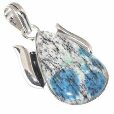 "Handmade Blue Azurite Jasper 925 Sterling Silver 2"" Pendant #P17505"