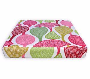 LL414t White Apple Green Pink Fushcia Leaf Cotton Canvas 3D Box Cushion Cover