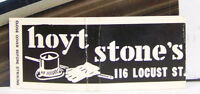 Rare Vintage Matchbook Cover W1 Evansville Indiana Hoyt Stone's 116 Locust St