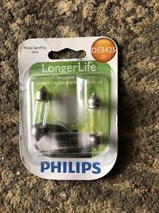 NEW PACKS OF 2 PHILIPS LONGER LIFE DE3425 DOME TRUNK LIGHT BULBS DE3425LLB2