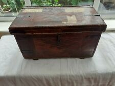 vintage military leather campaign trunk antique storage chest coffee table box