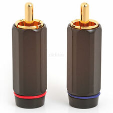 10 Quality Phono RCA Connectors - Gold Plated Plugs Large Diameter PHOPLU01