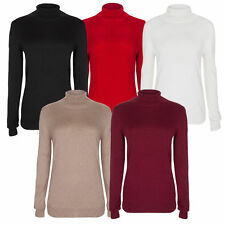 Women's Hip Length Polo Neck No Pattern Jumpers & Cardigans