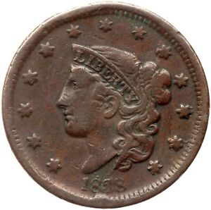 1838 N-4 Matron or Coronet Head Large Cent Coin 1c