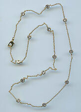 """SINGLE STRAND YELLOW GOLD PLATED 3.25 CT TW 20"""" RUSSIAN CZ BY THE YARD NECKLACE"""