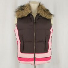 Juicy Couture Girl's Down Puffer Vest L Brown Pink Detachable Faux Fur Collar
