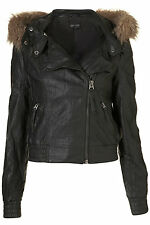 New TOPSHOP fur hooded PU bomber jacket UK 6 in Black