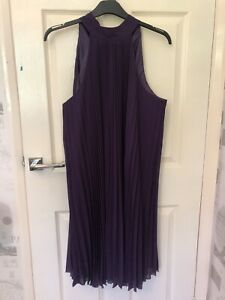 F&F Gorgeous Purple Pleated Halter Neck Chiffon Dress Size 22