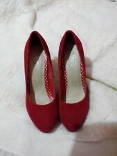 WOMENS LADIES HIGH STILETTO HEEL RED SHOES SIZE UK6