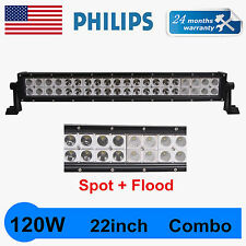 22inch 120W Philips Led Light Bar Spot&Flood Driving Slim Car Offroad 4WD 12V24V