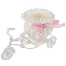 Rattan Tricycle Bicycle Flower Basket Vase Storage Garden Wedding Decoratijb