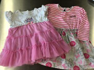 2 X Disney Princess / Minnie Mouse Baby Girls Dresses- Age 12-18/ 18-24 Months
