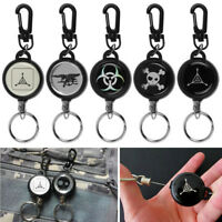 Heavy Duty Retractable Steel Reel Recoil Chain ID Holder Badge Key Ring NEWLY