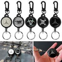 Men Lady Heavy Duty Retractable Steel Reel Recoil Chain ID Holder Badge Key Ring