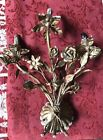 VINTAGE LARGE ITALIANGOLD TOLE WALL SCONCE THREE ARM ELECTRIFIED