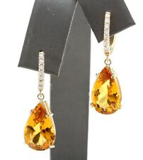 5.30 Carat Natural Citrine & Diamond in 14K Solid Yellow Gold Earrings