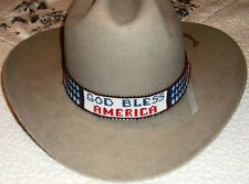 God Bless America Flag Southwestern Native American Style Hand Beaded Hat Band