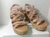 Women Self Esteem Sandals Wedge Cork Heel Open Round Toe Shoes Tan Size U.S. 7M