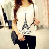 Women Summer Eiffel Tower Blouse Slim T-Shirt Stylish Tank Top Basic Tee Tops