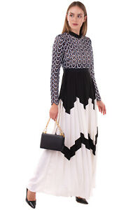 RRP€480 SELF-PORTRAIT Maxi Fit & Flare Dress Size 10 / M Pleated Stand Up Collar