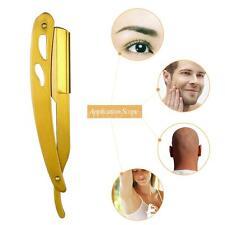 Straight Edge Barber Razor Stainless Steel Gold Folding Shaving Shaver W0X3