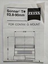 Contax G Mount Zeiss Sonnar T* 90mm f/2.8 lens user manual instruction specs