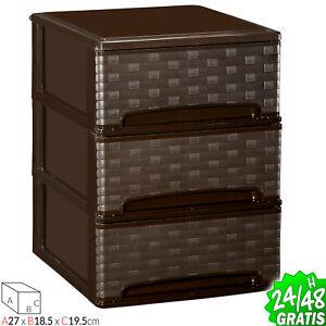 Drawer 3 Boxes Organiser Plastic Office Cabinet Bedroom Storage