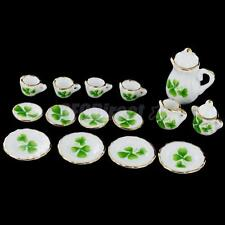 15 pcs Dollhouse Miniature Tableware Porcelain CHINA Coffee Tea Set Clover Print