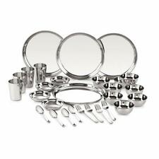 28 Pcs Stainless Steel Dinner Service Set 24 Gauge Plates Bowl Glass Spoon Fork