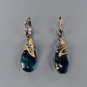26ct+ Handmade SET Fluorite Earrings Silver 925 Sterling   /E46103