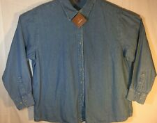 New Harriton Denim Shirt Button Down Womens XXL Long Sleeve