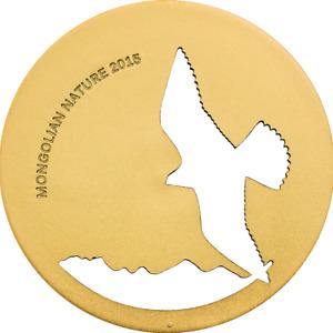 2015 Mongolia 500 Togrog 1/2oz Sterling Silver - Cutout Nature Series -FALCON