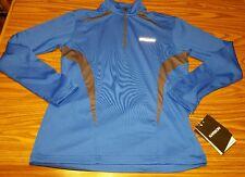 NWT Men's Karbon Mercury Zip Turtleneck Top Shirt Jacket 1/4 Zip Blue/Grey SMALL