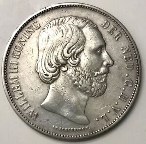 1872 Silver Netherlands 2 1/2 Gulden Willem III Coin KM# 82 Scarce Type XF+