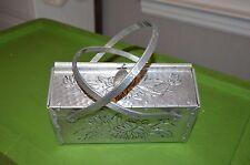 vintage floral hammered aluminum purse handbag