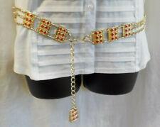 "1960's Waist Chain Boho Hippie Belt Gold W Rectangle Red Enamel Size 29"" - 35"""